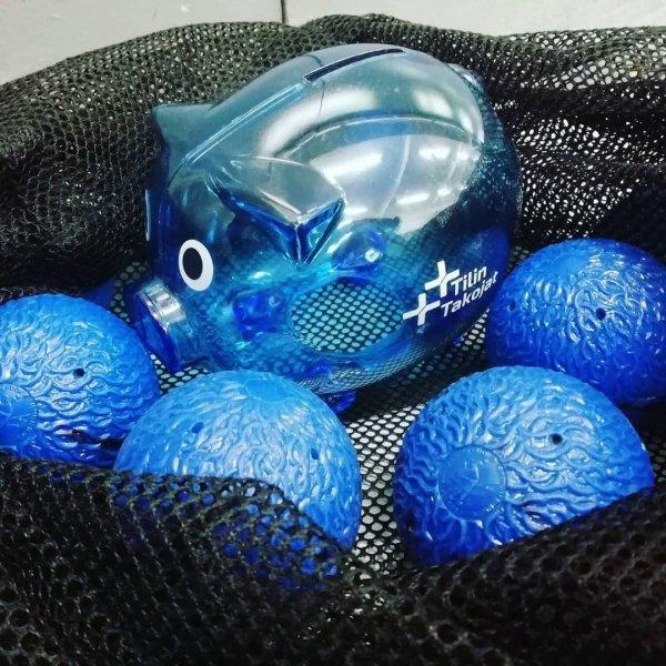 Sininen Possu löytyi kaukalopallojen seasta!😂 Ahkerasti edustaa vkonloppunakin 😍 #oulu #kaukalopallo #tilitoimisto #bl...